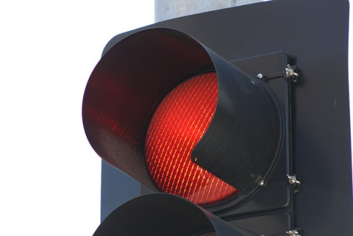 close-up of a red light on