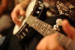 banjo playing close-up shot
