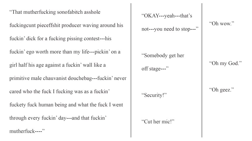 image of some dialogue in a script format