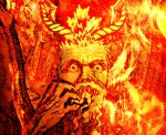 close up of image of satan