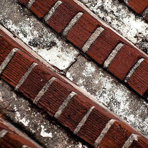close up of brick steps and mortar