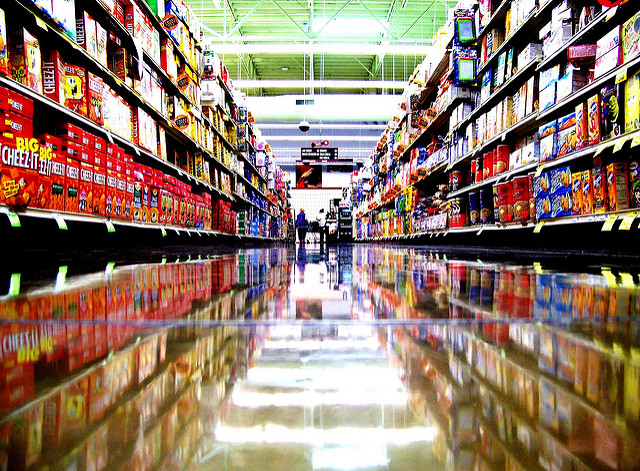 looking down a snack asile in a Kroger, shiny, waxed floors