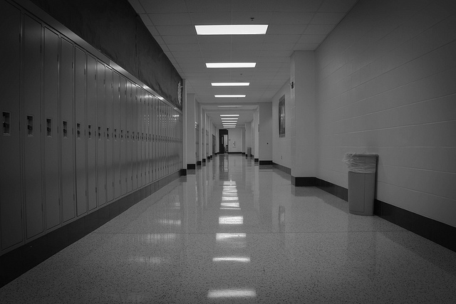empty school hallway - lockers - kind of sterile-looking