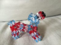 red white and blue plastic bead keychain small animal