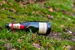 empty champagne bottle in the grass
