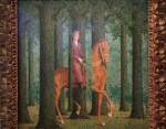 paining of man on horse in forest with a little bit of optical illusion