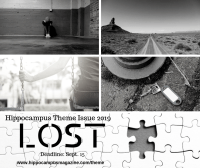 promo image for lost theme issue - deadline sept. 15, 2019, image collage includes desolate highway, empty swing, missing puzzle piece, lost key and lonely person with head down.