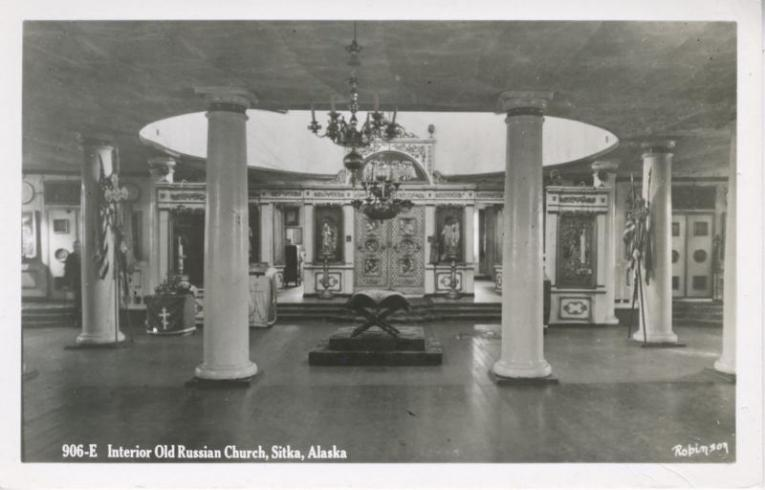 Sitka Alaska AK   Interior Old Russian Church Religion God   RPPC     Sitka Alaska AK   Interior Old Russian Church Religion God   RPPC Postcard