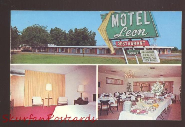 DOTHAN ALABAMA LEON MOTEL INTERIOR VINTAGE ADVERTISING POSTCARD     DOTHAN ALABAMA LEON MOTEL INTERIOR VINTAGE ADVERTISING POSTCARD