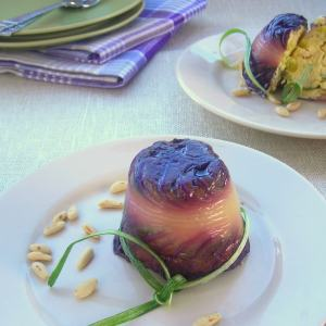Leek & Pine Nut Savory Flan in Radicchio Wrapper