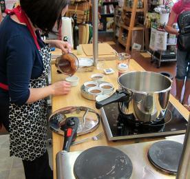 Laura Pazzaglia prepares desserts to pressure cook.