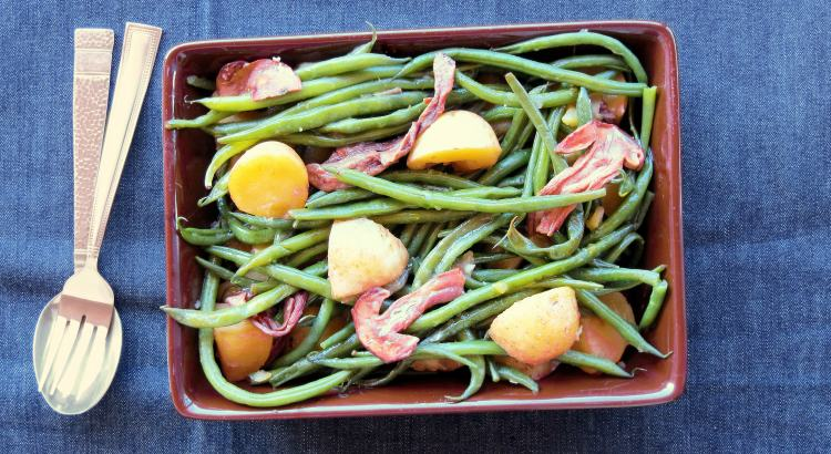 Pressure Cooked Warm Green Bean Salad with Mushrooms and Potatoes