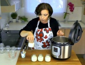 Laura Pazzaglia, of hip pressure cooking, making yogurt in the Instant Pot IP-DUO.