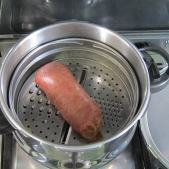 Sausage after pressure cooking.