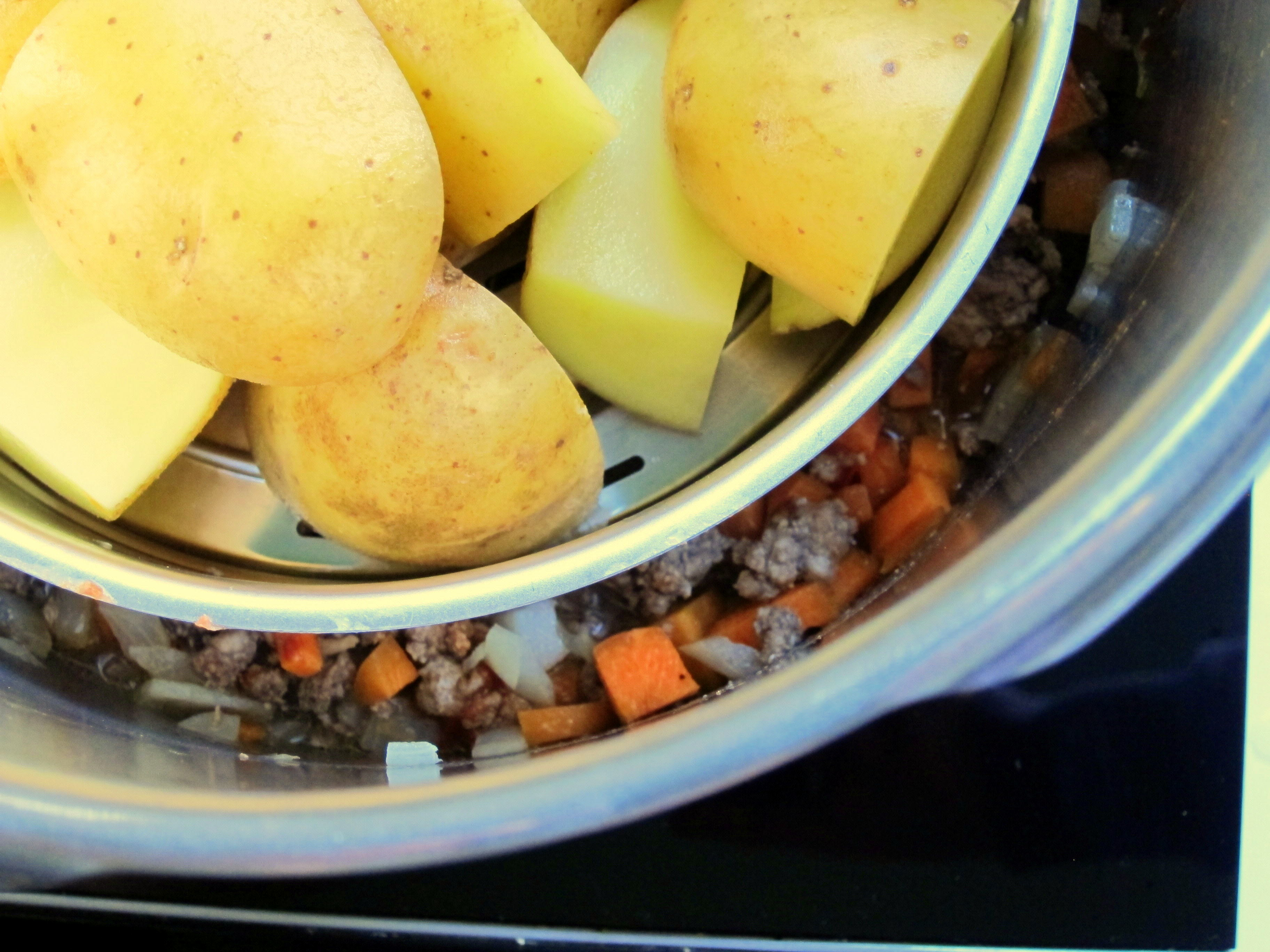 The potatoes steam above the meat mixture and cook at the same time!