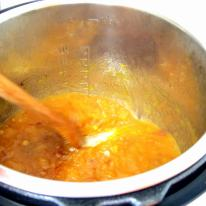 Reduce to about half and simmer until jam consistency.