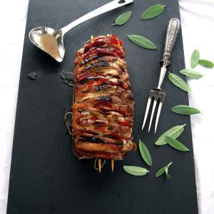 Hasselback Pork Roast with Apples, Coppa & Sage