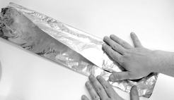 Fold a long piece of foil nto three