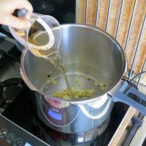De-glaze with vinegar.