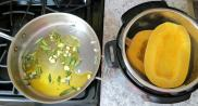 While pressure cooking start a cold saute pan with olive oil, garlic and sage.