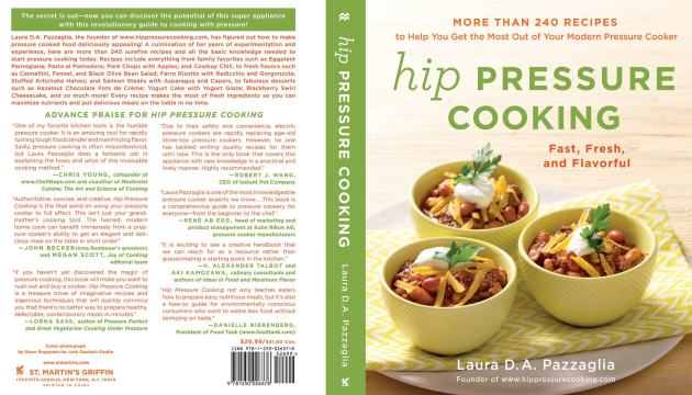 Front and Back cover of the Hip Pressure Cooking book - with quotes!