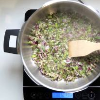 Saute celery and onion in butter