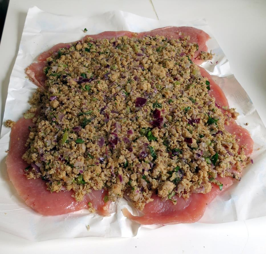 Pour stuffing on top and lay in flat layer