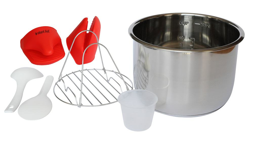 Instant pot SMART accessories: Red silicone mini-mitts, stainless steel rack, measuring cup, stainless steel insert, soup scoop and rice paddle.