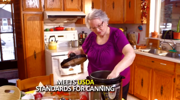 """This multi-cooker infomercial shows an actress putting jars in the cooker with the words """"Meets USDA Standards for Canning."""" The National Center for Home Food Preservation says it DOES NOT!"""