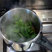 Mix-in spinach to wilt
