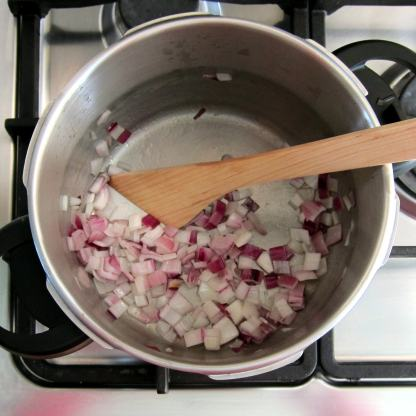 Soften onion for pressure cooker chicken