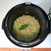 """Add trivet over beans (if your steamer basket does not have """"feet"""")"""