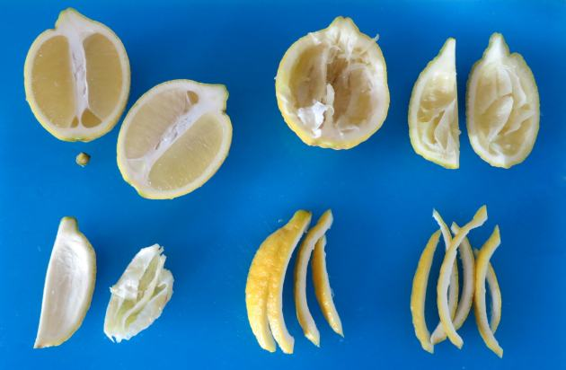 Slice lemon in half lengthwise, juice the halves, slice into quarters, peel out the pulp, and slice into strips.