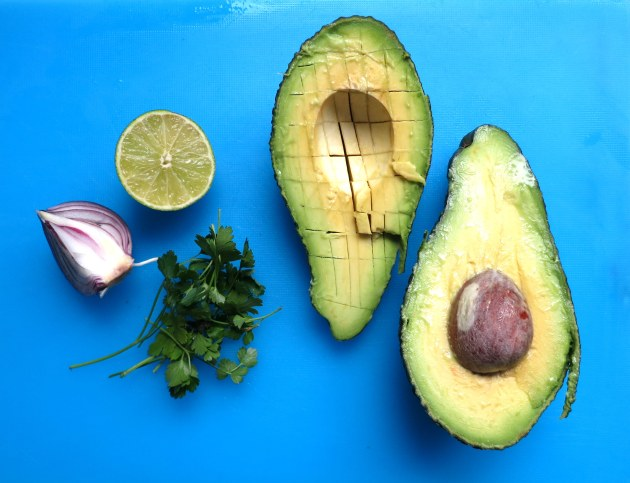 Ingredients for making guacamole