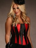 Diamond Corset 1X In Red and Black By Hips & Curves