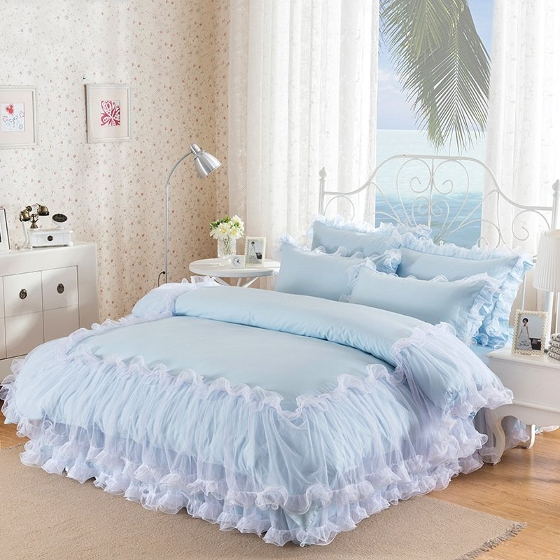 Sophisticated Elegant Light Blue Ruffle Lace And Waterfall