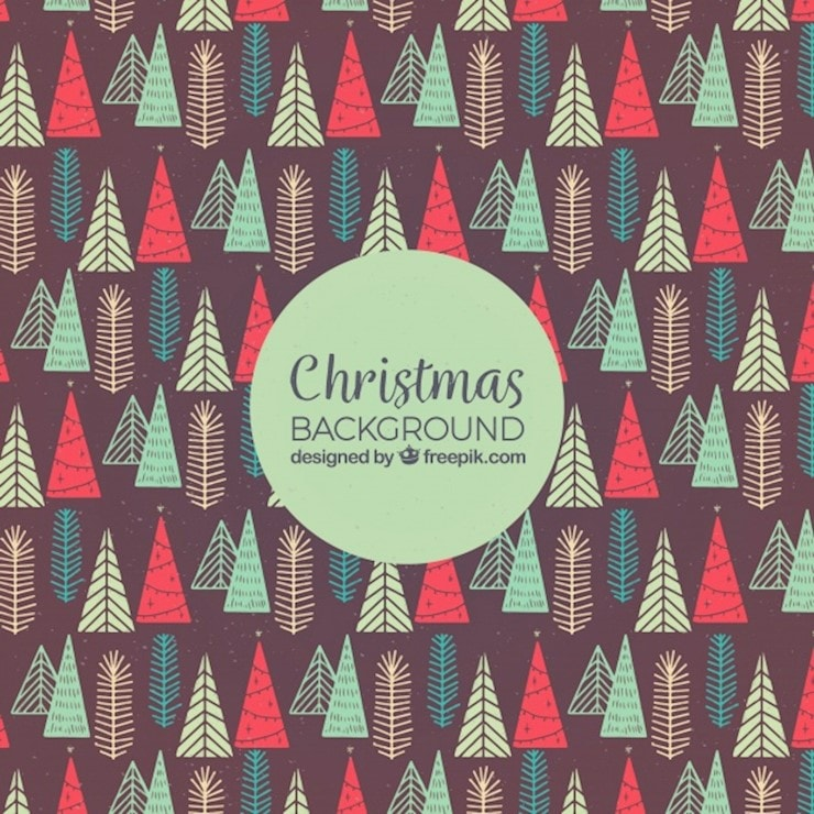 hand drawn background with christmas trees pattern