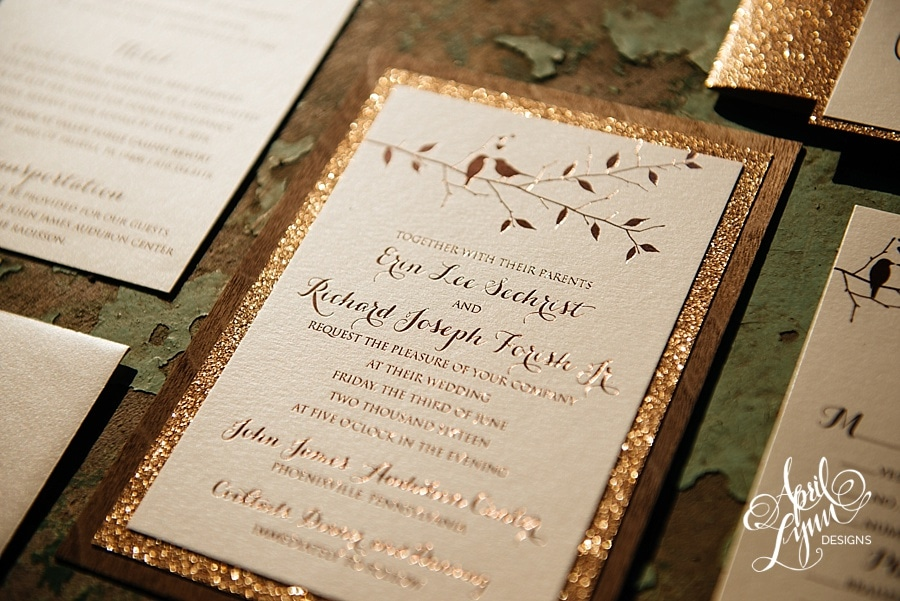 20 gorgeous wedding invitation designs 2018 this elegant wedding invitation design is perfect for a glam wedding with a rustic twist the brown wood texture and the gold glitter sets some high stopboris Images