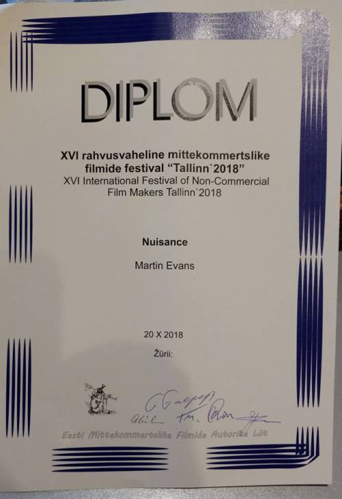 A diploma for film making from Estonia