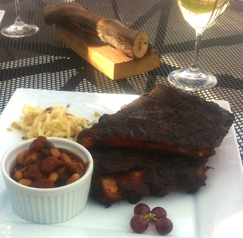 ribs and wine at Smoke & Oak Bistro