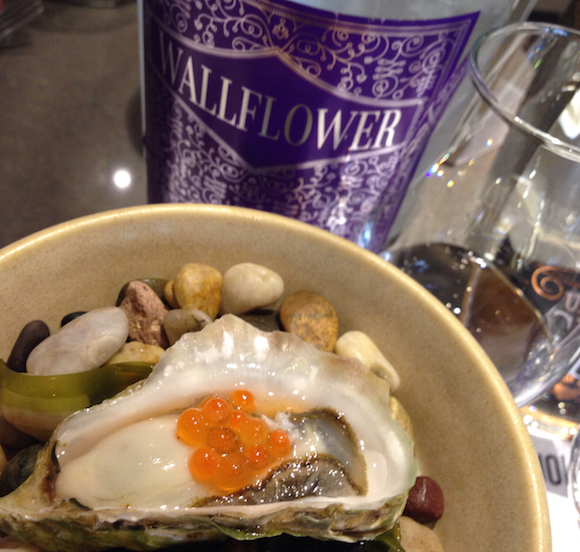 Odd Society Wallflower Gin with Reid Island oyster and salmon caviar