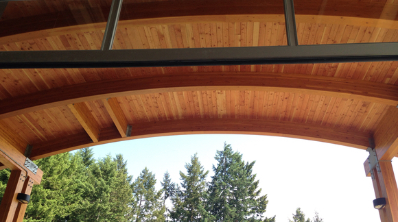 Blue Grouse curved roof over the crush pad