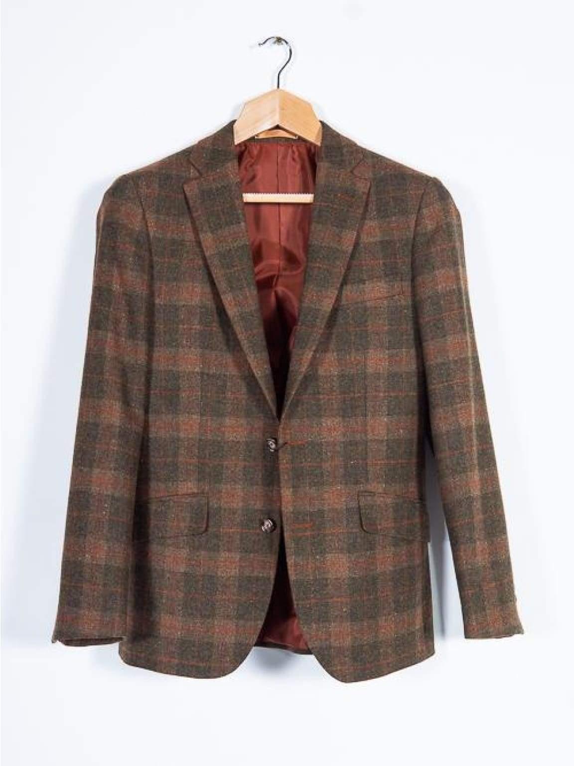 Brown Tweed Blazer 100% Wool Tailored Fit by Torre - 34 - Suit & Tailoring