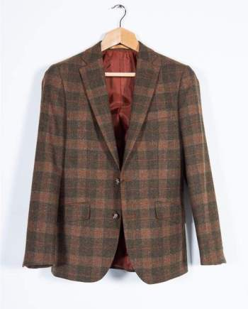Brown Tweed Blazer 100% Wool Tailored Fit by Torre - 34 - Suit & Tailoring