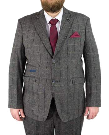 Cavani Albert Grey Mens 2 Piece Suit Big & Tall Tweed Suit Regular Fit - 48S / 44S - Suit & Tailoring