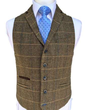 Cavani Albert Mens Brown Tweed Style Waistcoat - 36 / Short - Suit & Tailoring