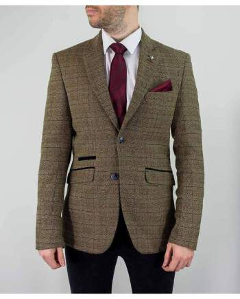 Cavani Ascari Mens Brown Sim Fit Tweed Style Jacket - 34 - Suit & Tailoring