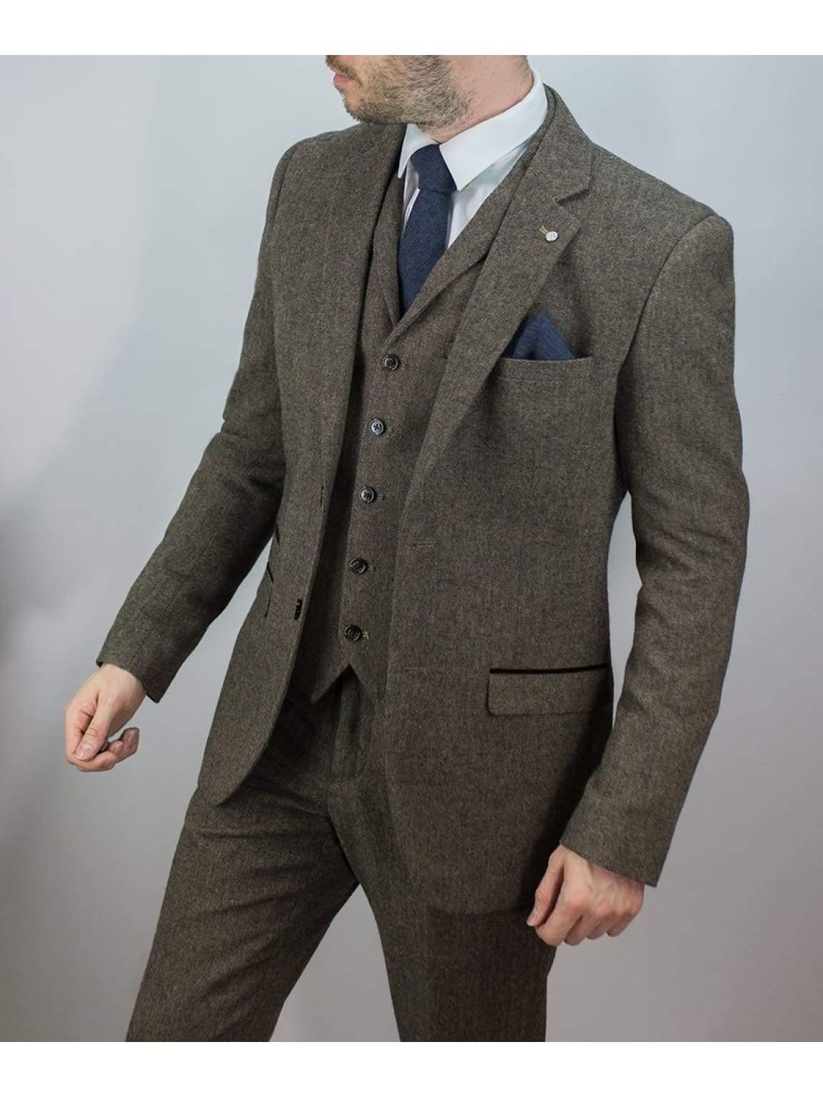 Cavani Brendan Mens Blue Check Slim Fit Suit - Suit & Tailoring