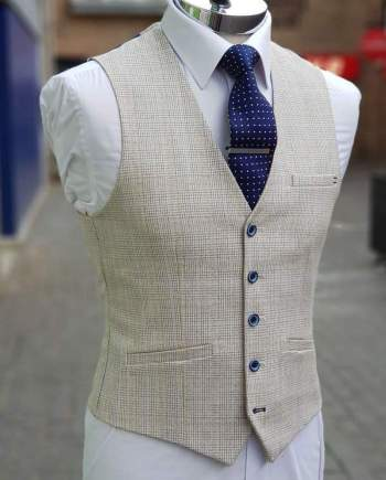 Cavani Caridi Mens Cream Slim Fit Textured Check Waistcoat - 36R - Suit & Tailoring