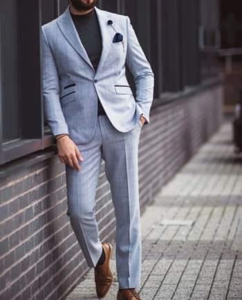 Cavani Caridi Mens Sky Blue 3 Piece Slim Fit Suit for Weddings and Race Days - Suit & Tailoring
